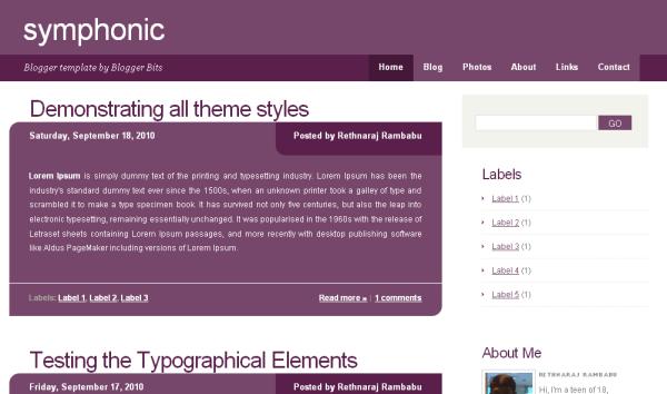 Symphonic Blogger Template